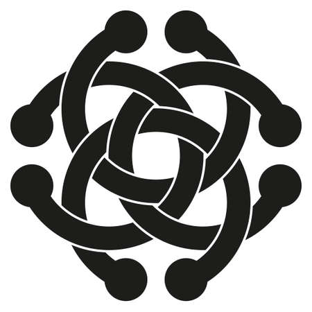 braided: Optical illusion object. Impossible interlacing of four rings. Borromean Rings