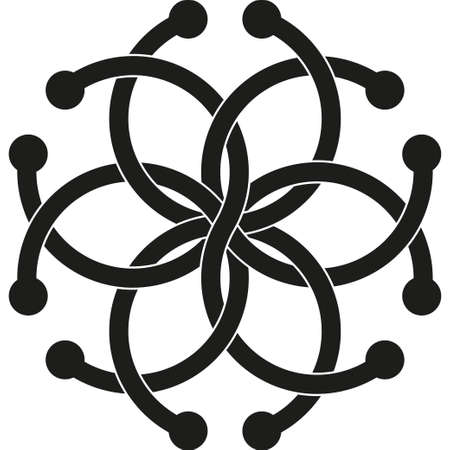 Optical illusion object. Impossible interlacing of six rings. Borromean Rings Illustration