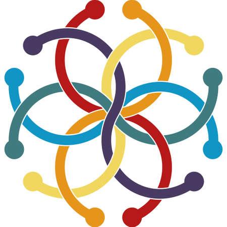 interlacing: Optical illusion object. Impossible interlacing of six rings. Borromean Rings Illustration
