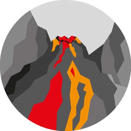 Round landscape icon. Flat style illustration. Volcanic eruption Illustration