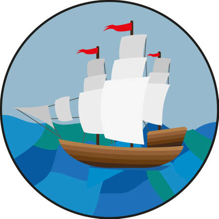 Round landscape icon. Flat style illustration. Sailing ship in a ocean Illustration