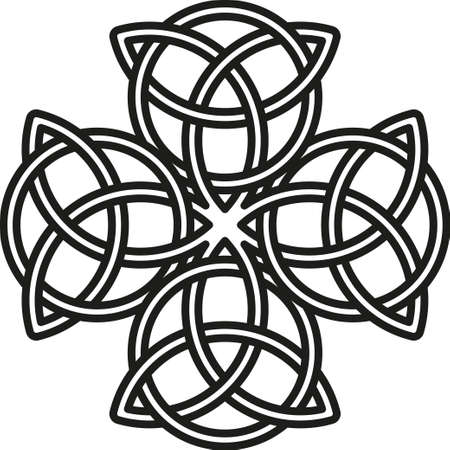 Keltisch kruis. De gestileerde afbeelding van een klaver. Element van de Scandinavische of Celtic ornament Stock Illustratie