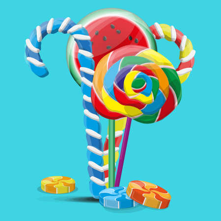 Colorful sweets lollipops and candies. Vector illustration EPS10