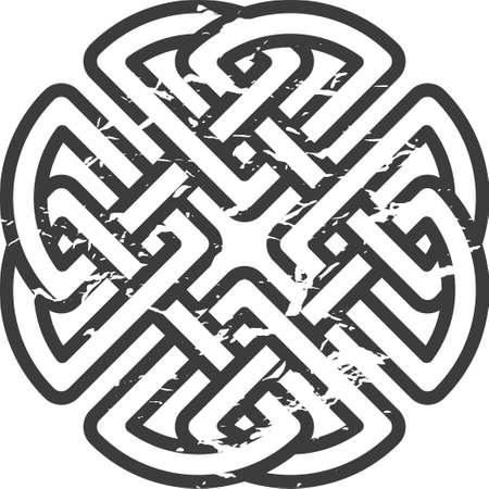 clover leaf shape: Monochrome Celtic pattern. Pattern for Scandinavian or Celtic ornament. Vector illustration Illustration