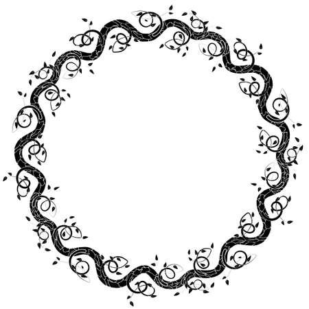 葉と枝を持つ円形のフレーム。カード、招待状、お祝いの言葉あなたのテキストのためのスペースを持つベクトル イラスト