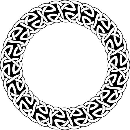Round frame of Celtic pattern. Pattern for Scandinavian or Celtic ornament. Vector illustration