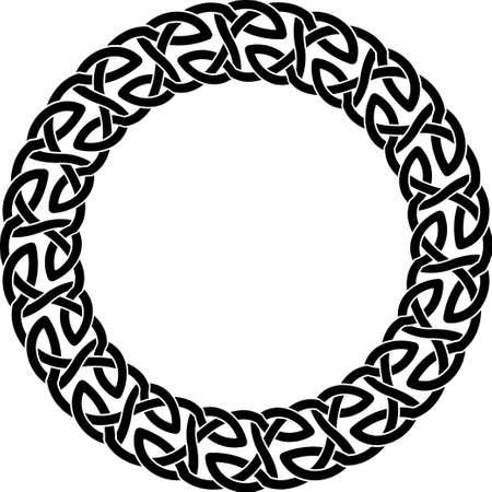 Round frame of Celtic pattern. Pattern for Scandinavian or Celtic ornament. Vector illustration