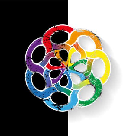 knotwork: Rainbow Round Celtic pattern. Element of Scandinavian or Celtic ornament. Vector illustration EPS10 Illustration