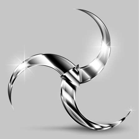 Steel triskel or triskelion, ancient Celtic symbol. Vector illustration EPS10