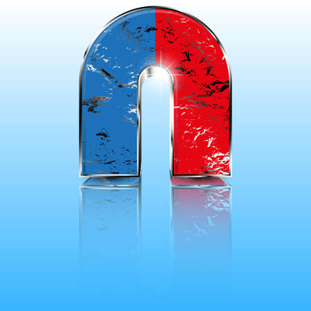 Realistic red and blue horseshoe magnet. Çizim