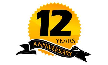 Aniversario de la cinta de 12 años Foto de archivo - 75937980