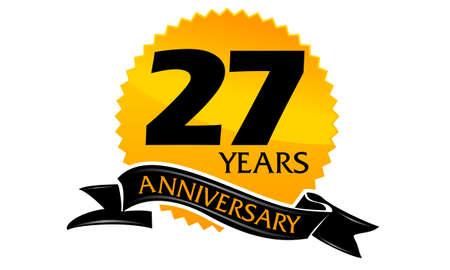 27: 27 Years Ribbon Anniversary Illustration