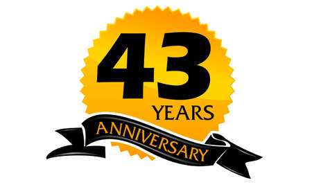 43 Years Ribbon Anniversary Illustration