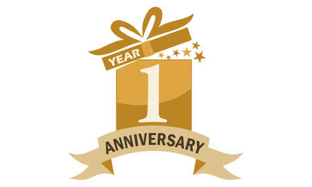 1 Years Gift Box Ribbon Anniversary