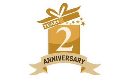 2 Years Gift Box Ribbon Anniversary