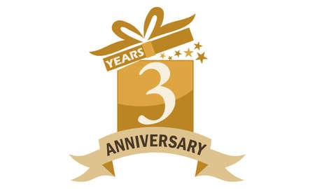 3 Years Gift Box Ribbon Anniversary