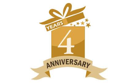 4 Years Gift Box Ribbon Anniversary Illustration