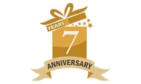 7 Years Gift Box Ribbon Anniversary