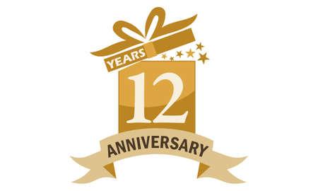 12 Years Gift Box Ribbon Anniversary