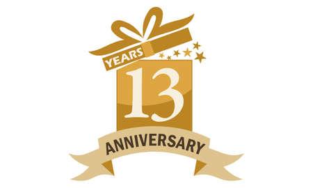 13 Years Gift Box Ribbon Anniversary