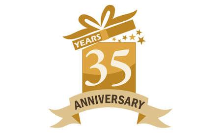 35 Years Gift Box Ribbon Anniversary Illustration