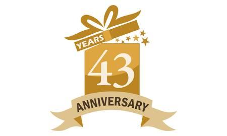 43 Years Gift Box Ribbon Anniversary Illustration