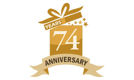 74 Years Gift Box Ribbon Anniversary Illustration