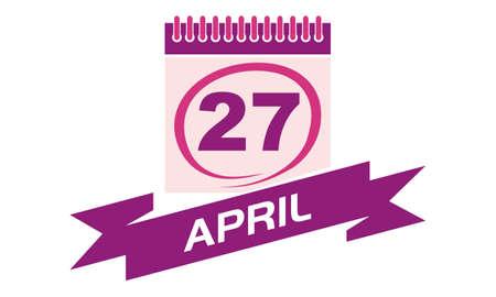 27: 27 April Calendar with Ribbon Illustration
