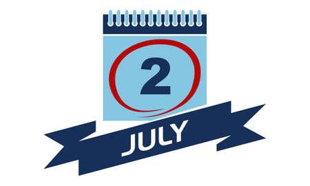 2 July Calendar with Ribbon Illustration