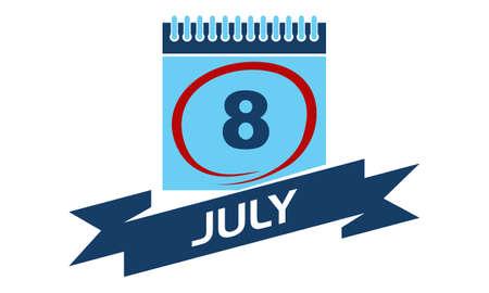 8 July Calendar with Ribbon Illustration