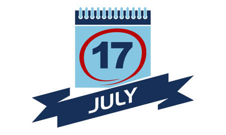 17: 17 July Calendar with Ribbon