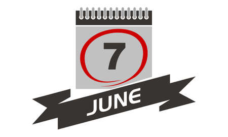 7 June Calendar with Ribbon