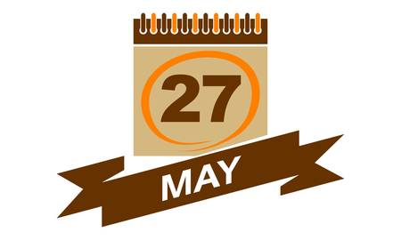 27 May calendar with ribbon.