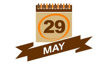 29 May Calendar with Ribbon. Illustration