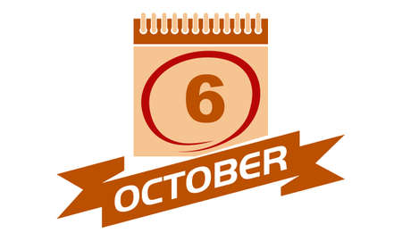 6 October Calendar with Ribbon.