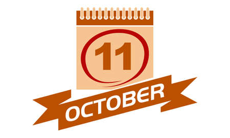 11 October Calendar with Ribbon.