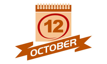 12 October Calendar with Ribbon.