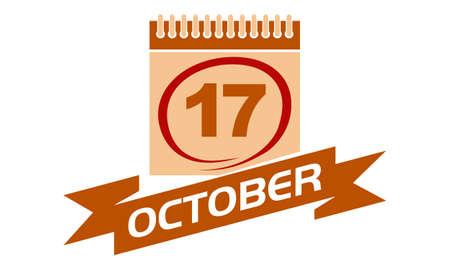17 October Calendar with Ribbon. Illustration
