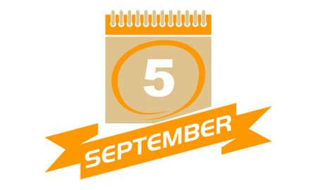 september calendar: 5 September Calendar with Ribbon