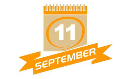 11 September Calendar with Ribbon Illustration