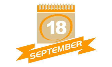 18 September Calendar with Ribbon