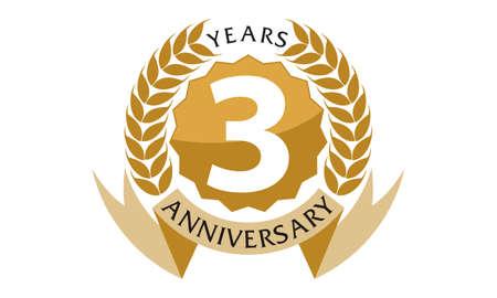 Aniversario de la cinta de 3 años Ilustración de vector
