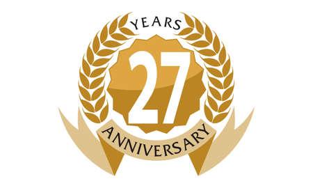 27 Years Ribbon Anniversary Illustration