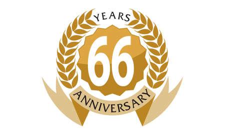 66 Years Ribbon Anniversary Illustration