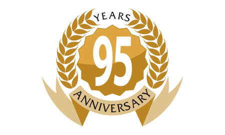 95: 95 Years Ribbon Anniversary Illustration