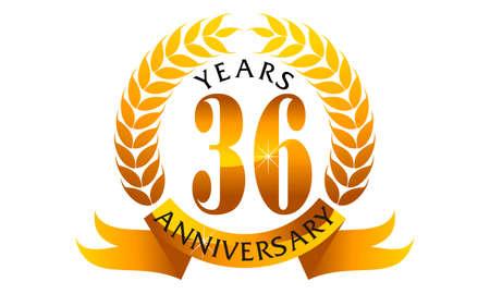 number 36: 36 Years Ribbon Anniversary