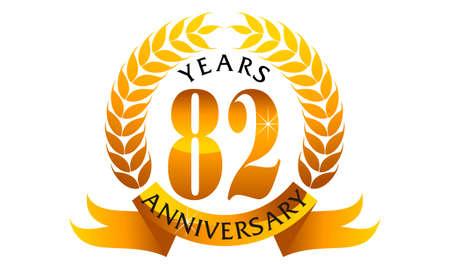 82 Years Ribbon Anniversary 向量圖像