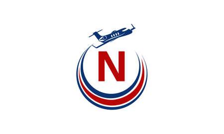 Airplane Logo Initial N Illustration