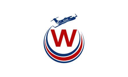 Airplane Logo Initial W