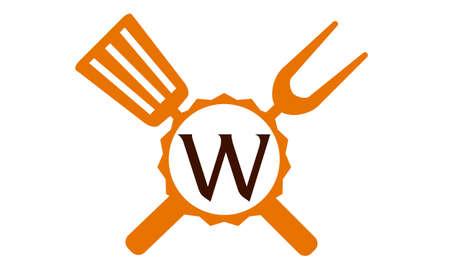Logo Restaurant Brief W Standard-Bild - 76251749